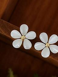 Feminino Brincos Curtos bijuterias Liga Formato de Flor Jóias Para Casamento Festa Diário Casual