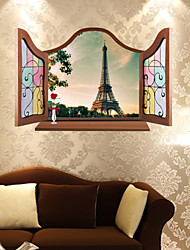 3D Wall Stickers Wall Decals Style Outside The Window Paris Iron Tower Waterproof Removable PVC Wall Stickers