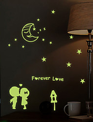 Luminous Wall Stickers Wall Decals Style Street Lamp Little Lovers Waterproof Removable PVC Wall Stickers