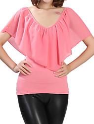 Damen Solide Einfach Lässig/Alltäglich T-shirt,V-Ausschnitt Sommer Kurzarm Rosa / Rot / Schwarz / Grün / Lila Polyester Mittel