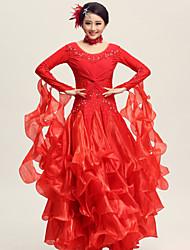 Dança de Salão Vestidos Mulheres Actuação Elastano Poliéster Renda Pano 2 Peças Vestido Neckwear