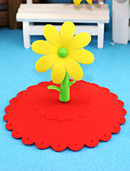 Environmental Non-Toxic Ideas Seal Leak Proof Sunflower Silicone Lid Universal  Silicone Cup Sealer Cover random color