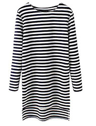 Women's Striped Black / Gray Blouse , Round Neck Long Sleeve
