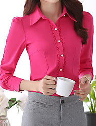 Women's Solid Korean Style Solid Shirt Collar Long Sleeve Temperament Elegance Slim Shirt