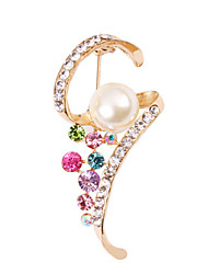 MISSING U  Diamonade  Gold Plated Imitation Pearl Gemstone & Crystal Zirconia Flower Colorful Brooch