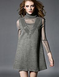 Damen Kleid - A-Linie Leger Solide Mini Polyester Rollkragen