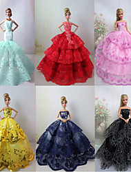 6 Pcs Barbie Doll Charming Princess Deluxe Evening Party Dress