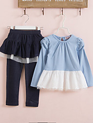Girl's Blue / Pink Clothing Set Cotton Spring / Fall