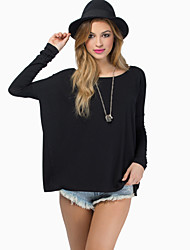 Tee-shirt Aux femmes,Couleur Pleine Sexy Automne Manches Longues Col Arrondi Rouge / Blanc / Noir / Gris Coton Opaque