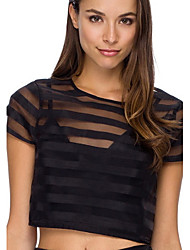 Women's Striped Black Blouse , Round Neck Short Sleeve