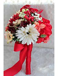Wedding Flowers Elegant Bride Red Round Peonies Bouquets