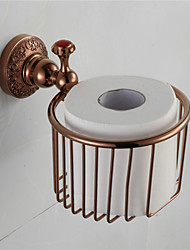 Red Bathroom Toilet Paper Holder , Traditional Antique Copper Wall Mounted