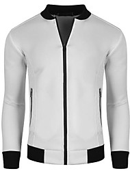 Men's Long Sleeve Casual Jacket,Polyester Solid Black / White / Gray