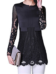 Spring Women Round Neck Long Sleeve Sexy Lace Splice Formal Work OL Slim Blouse T-Shirt Tops