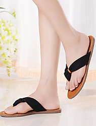 Women's Shoes Leather Flat Heel Flip Flops Slippers Casual Black