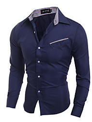 Men's Fashion Oblique Pocket Design Slim Fit Long-Sleeve Shirt