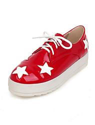Zapatos de mujer - Plataforma - Plataforma / Creepers / Punta Redonda - Mocasines - Exterior / Vestido / Casual - Semicuero - Negro / Rojo