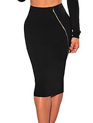 Women Midi Skirt Stretch Zipper Fastening High Elastic Waist Solid Elegant Pencil Skirt