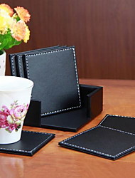 6 Pcs/lot Double-deck Leather Coasters Set Placemat of Cup Mat Pad with Coaster Holder