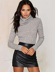 Women's Solid Gray Blouse , Turtleneck Long Sleeve