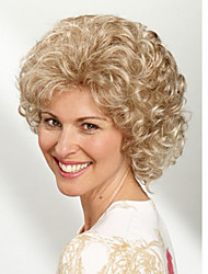 Capless Blonde Color Short Synthetic Curly Hair Wig Full Bang