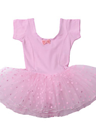 Kid Girl's Pink/Black Polka Dots Tulle Ruffle Skirt Short Sleeve Ballet Tutu Dress/Stage Performance Costume for 3~8Y