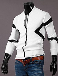 Men's Long Sleeve Jacket , Cotton Casual Color Block