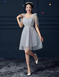 Short / Mini Crepe Bridesmaid Dress A-line Sweetheart with Bandage