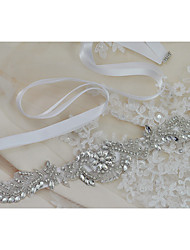 Satin Wedding / Party/ Evening / Dailywear Sash-Beading / Appliques / Crystal / Rhinestone Women's 98 ½in(250cm)Beading / Appliques /