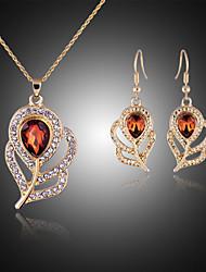Collar / Pendiente (Baño en Oro Rosa / Aleación / Piedra Preciosa y Cristal / Zirconia Cúbica)- Bonito / Fiesta para Mujer