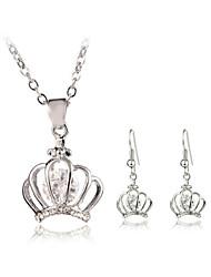Jewelry Set Elegant Crystal Crown Pendant Necklace Earrings Girlfriend Gift