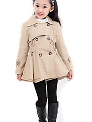 Girl's Striped Trench Coat,Polyester / Cotton Blend Fall / Spring Brown / Pink