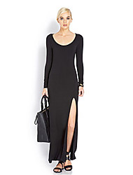 Women's Sexy / Party / Cocktail / Casual / Day Solid Plus Size Dress , Round Neck Maxi Cotton
