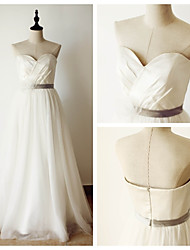 A-line Wedding Dress Floor-length Sweetheart Satin / Tulle with Criss-Cross / Sash / Ribbon