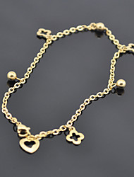 L:24CM Fashionable Stainless Steel Jewlery Gold Chain Flower Foot Barefoot Anklets(1PC)
