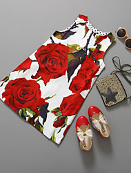Girls Red Rose Flower Print Party Pageant Birthday Kids Clothes Dresses