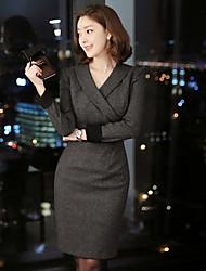 Boutique s Frauenarbeit / solid Etuikleid, V-Ausschnitt über dem Knie Baumwolle
