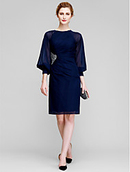 Lanting Bride® Sheath / Column Mother of the Bride Dress Knee-length Long Sleeve Chiffon with Beading / Side Draping