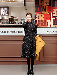 Korean Style Women's Work / Casual / Day Polka Dot Loose Dress , Turtleneck Above Knee Polyester