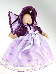NPKDOLL Reborn Baby Doll Soft Silicone 18inch 45cm Magnetic Lovely Lifelike Cute Boy Girl Toy Purple Dress Eyes Close
