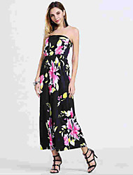 Women's Sexy Floral Chiffon Dress , Strapless Maxi Acrylic
