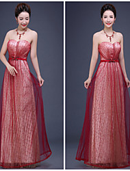 Formal Evening Dress - Burgundy A-line Sweetheart Floor-length Tulle / Sequined