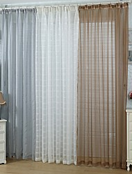 Two Panels European Solid White / Neutrals / Coffee Bedroom Polyester Sheer Curtains Shades