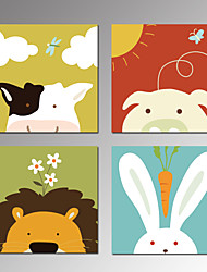 VISUAL STAR®Lovely Cartoon Animals Canvas Sets of 4 Pictures Art Prints Framed for Kids Room Wall Decoration