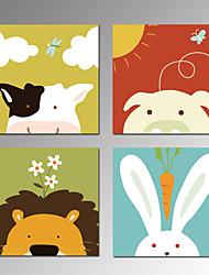 Animal Impressão em tela 4 Painéis Pronto para pendurar , Quadrada