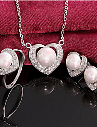 Heart full diamond pearl set