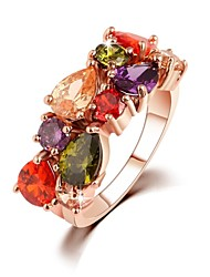 Statement Ring Multicolor Zircon Designer Unique Ring Geometric