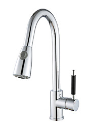 Deck Mounted Single Handle One Hole Pull Down Kitchen Faucet Solid Brass Chrome Finish Pull Out Sprayer Tap K40CF02