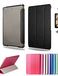 smart étui en cuir de couverture + pc translucides arrière pour Apple iPad Mini 4 + Film de protection cadeau gratuit + stylet