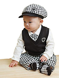 Boy's Turn-down Collar Long Sleeve White Shirts + Black Vest + Plaid Bow Tie + Cap + Pants 5Pcs Suit